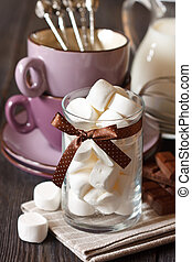 Marshmallow. - Sweet ingredients for hot chocolate close-up.