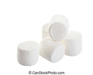 Marshmallows - A pile of white puffy marshmallows. Shot on...