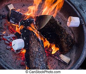 marshmallows, assando