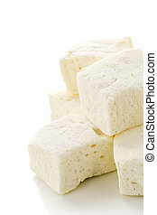 Marshmallows - Homemade white vanilla bean marshmallows on a...