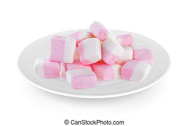 marshmallows in plate on white background