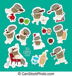 marshmallows., koffie boon, kop, vliegen, melk, spelend, vector, set, stickers., gekke , springt