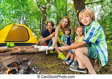 marshmallows, madeiras, assando, família, feliz