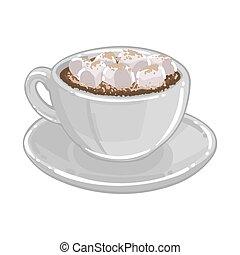 marshmallows, o, tazza, cioccolato caldo, cacao, caffè,...