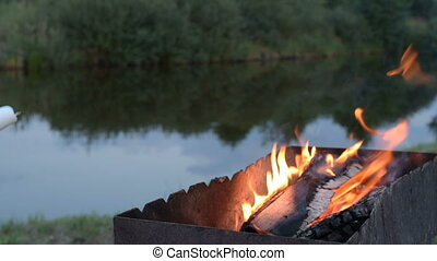 Marshmallows on camping fire