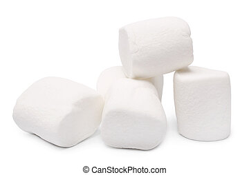 Marshmallows on white background