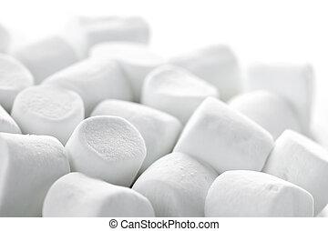 Marshmallows - Close up of many plump sweet marshmallows