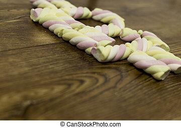 marshmallows., symbole, au-dessous, dessiné, gauche, vue