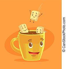marshmallows, xícara café