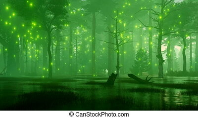 Marshy night forest with mystic firefly lights 4K