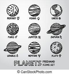 marte, conjunto, planeta, neptuno, iconos, astronómico, -, mano, símbolos, mercurio, vector, nombres, pluto., venus, dibujado, urano, saturno, júpiter, tierra