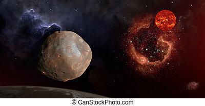 marte, encima, phobos, espacio