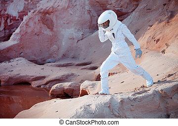 marte, immagine, effetto, acqua, astronauta, futuristico, intonando