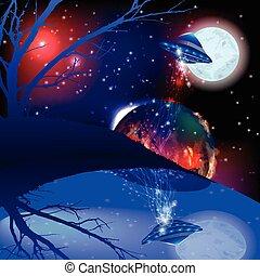 marte, luna, Ilustración, ovni, espacio