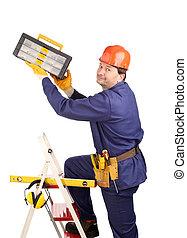 marteau, échelle, ouvrier