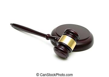marteau, arrière-plan., juge, closeup, blanc