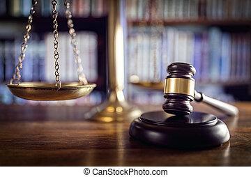 marteau, balances justice, et, livres loi