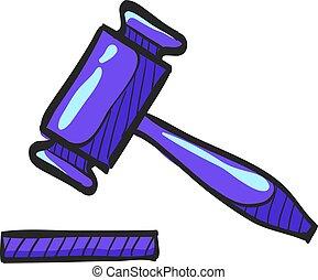 marteau, bidder, bois, justice, enchère, drawing., couleur juge, droit & loi, icône