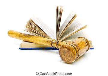 marteau, blanc, livres, fond