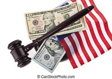 marteau, bois, dollars, isolé, drapeau usa, fond, blanc