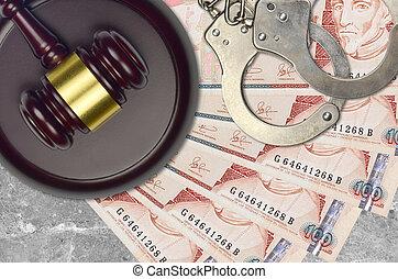 marteau, bribery., quetzales, concept, juge, 100, factures, police, ou, guatémaltèque, tribunal, judiciaire, procès, menottes, action éviter, impôt, desk.