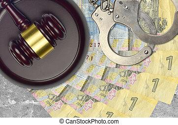 marteau, bribery., ukrainien, concept, 1, juge, factures, police, ou, judiciaire, tribunal, hryvnia, procès, menottes, action éviter, impôt, desk.