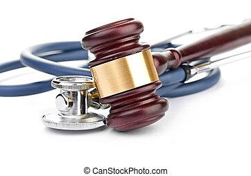 marteau, brun, monde médical, stéthoscope
