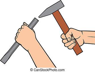 marteau, ciseau, tenant mains