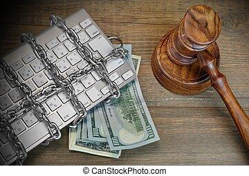marteau, clavier, juges, cyber, crime, concept, chaîne, table