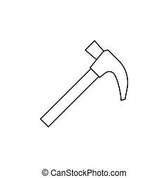 marteau, contour, icône