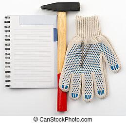 marteau, copie, livre, gants