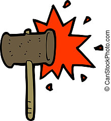 marteau, dessin animé, frapper