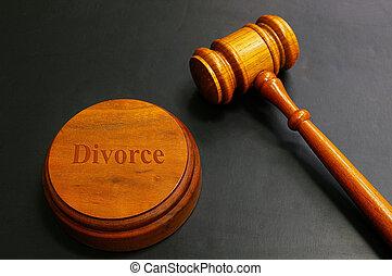 marteau, divorce, juges, noir, texte