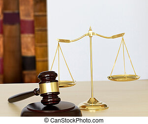 marteau, et, légal, juge, marteau, balances justice, et, droit & loi, travailler, table
