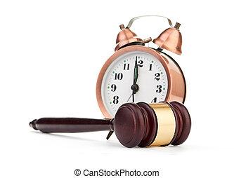 marteau, et, vieux, horloge