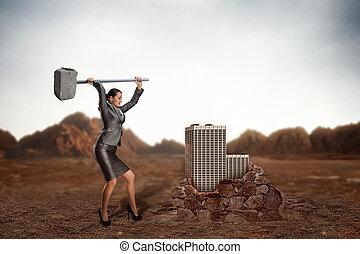 marteau forgeron, femme affaires