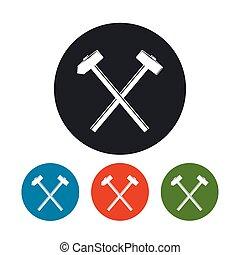 marteau forgeron, marteau, traversé, icône