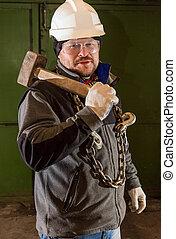 marteau forgeron, ouvrier, dur, fer, chaîne