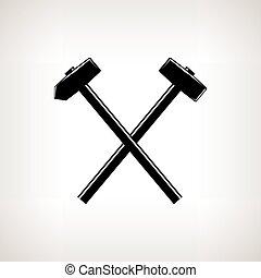 marteau forgeron, traversé, marteau, silhouette