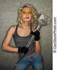 marteau, grand, blond, métal, sexy