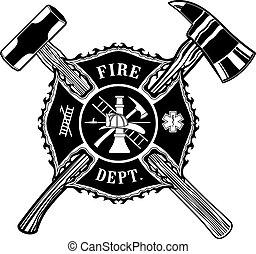 marteau, hache, croix, traîneau, pompier