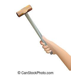 marteau, humain, tenant main
