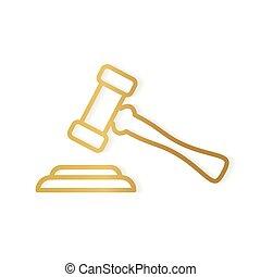marteau, icon-, vecteur, juge, doré, illustration