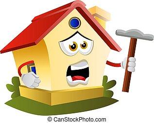 marteau, illustration, maison, arrière-plan., vecteur, tenue, blanc