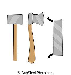 marteau, illustration., travail, outils main, saw., hache