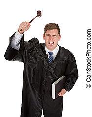 marteau, juge, livre, frustré, mâle