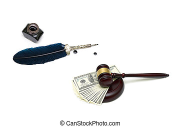 marteau, juges, argent, fond, encrier, stylo, blanc