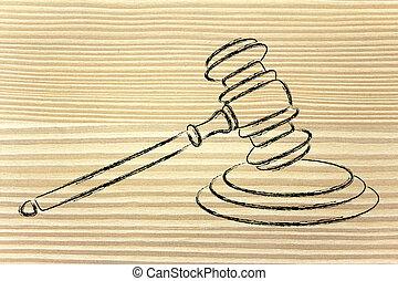 marteau, juges, droit & loi, courts:, illustration