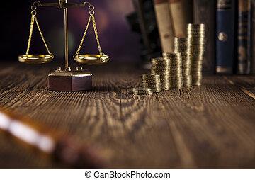 marteau, justice, balances, juge, pièces