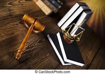 marteau, livres, droit & loi, bois